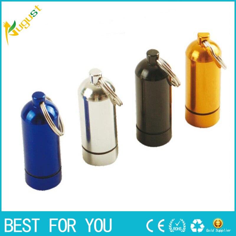120pcs/lot Stash Pill box case medicine Storage Keychain Bottle Keyring metal Aluminum Waterproof Pill Bottle Container 20*58mm