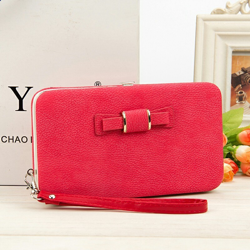 Korea bowknot Women Long brand Wallet litchi grain Leather coin Card pocket female lunch box Purse lady Clutch Wallet phone bag aosbos fashion portable insulated canvas lunch bag thermal food picnic lunch bags for women kids men cooler lunch box bag tote