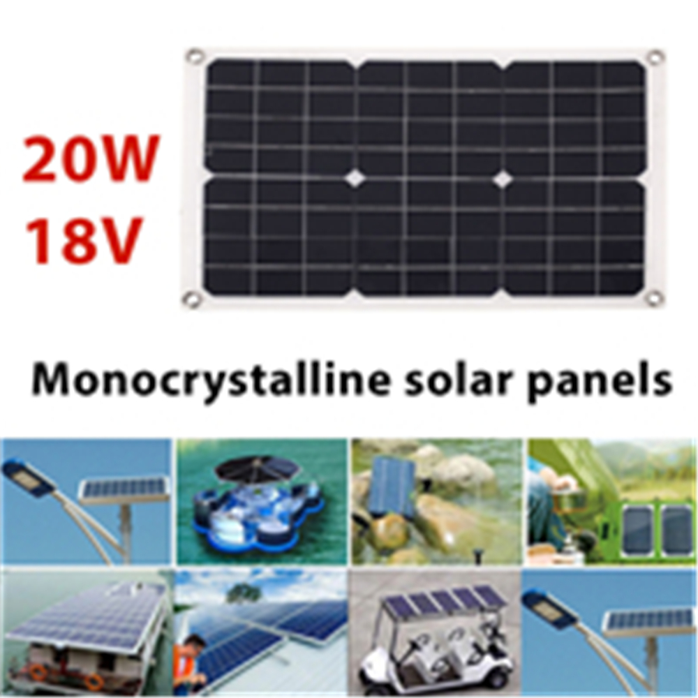 Cewaal Portable Solar Panel 20W 18V Emergency Power Supply Solar Charging Solar Generator USB+DC Port Car Battery Charging ...