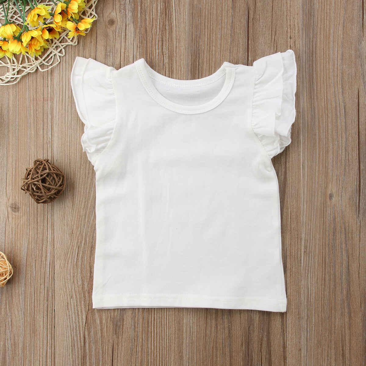 2019 Bebek Yaz Giyim Toddler Bebek Kız Erkek Uçan Kollu Gömlek Tops Kıyafetler Çocuk Katı Elbise Tee 0-4 T