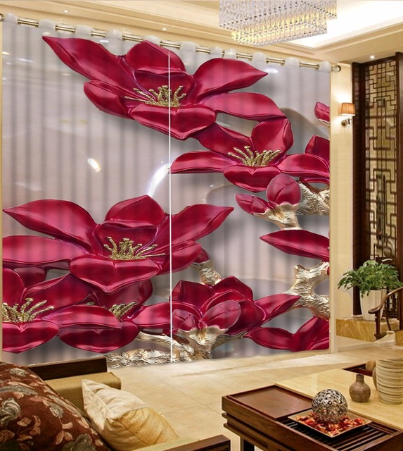 Photo Curtains Jade Lotus Curtains For The Bedroom Romantic Window Curtains  Wedding Room Red Curtain Drapes