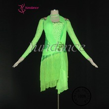 L-1128 2014 Newest Fluorescent Green Latin Ballroom Dress Wholesale For Women