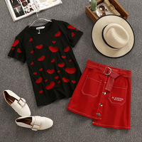Summer Woman Casual Tees Irregular Buttons Skirt Suits Heart Printed T shirts Skirts 2 PCS Sets
