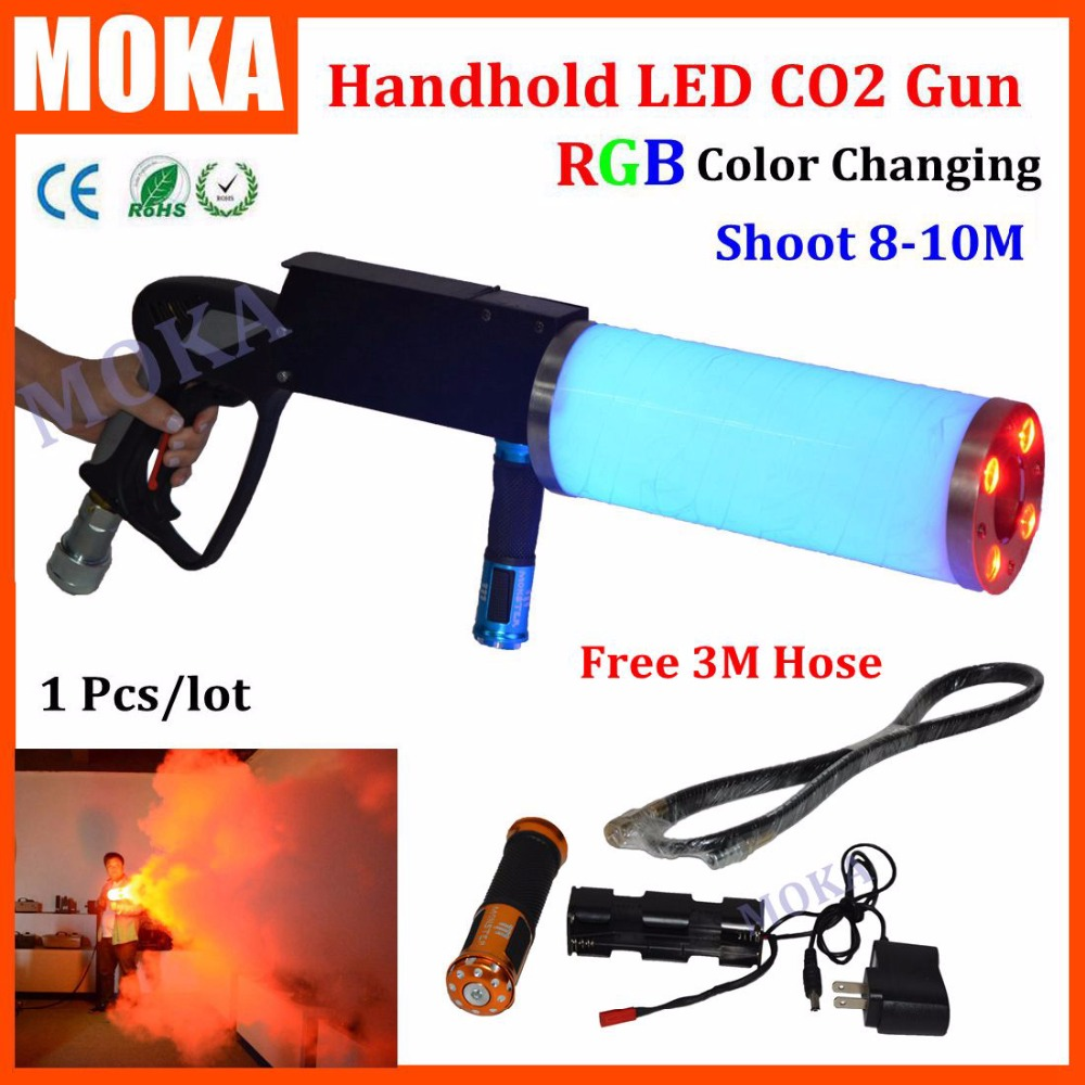 1 Pcs/lot fog gun shooter co2 gun for dj led Co2 Pistol With Battery RGB color LED Co2 Cryo fogger effect fx co2 jet machine 4pcs lot fligt case special effect co2 cryo jet dj equipment co2 smoke machine for clubs concert theater