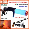 1 unids/lote niebla pistola CO2 pistola para DJ Co2 pistola con batería RGB Color LED Co2 crio fogger efecto FX CO2 Jet machine