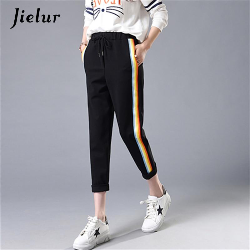 Jaro léto duha barevné pruhované ležérní kalhoty ženský volný elastický pas pohodě harem dámské kalhoty kapsy M-2XL
