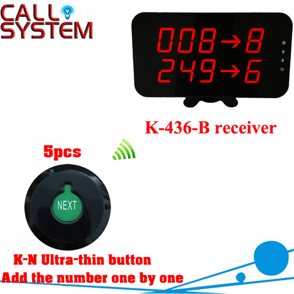 Wireless queue counter call system for kitchens restaurants with 5 K N ultra thin button and