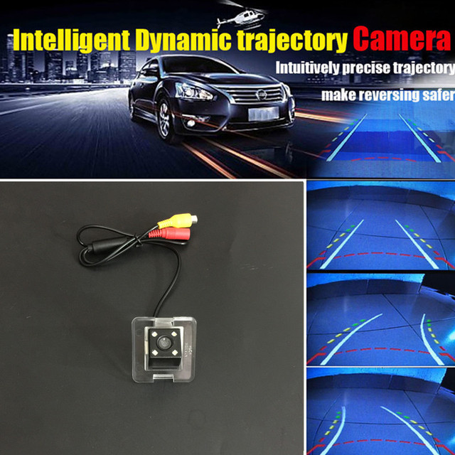 4 led car rear view backup camera moving dynamic trajectory.