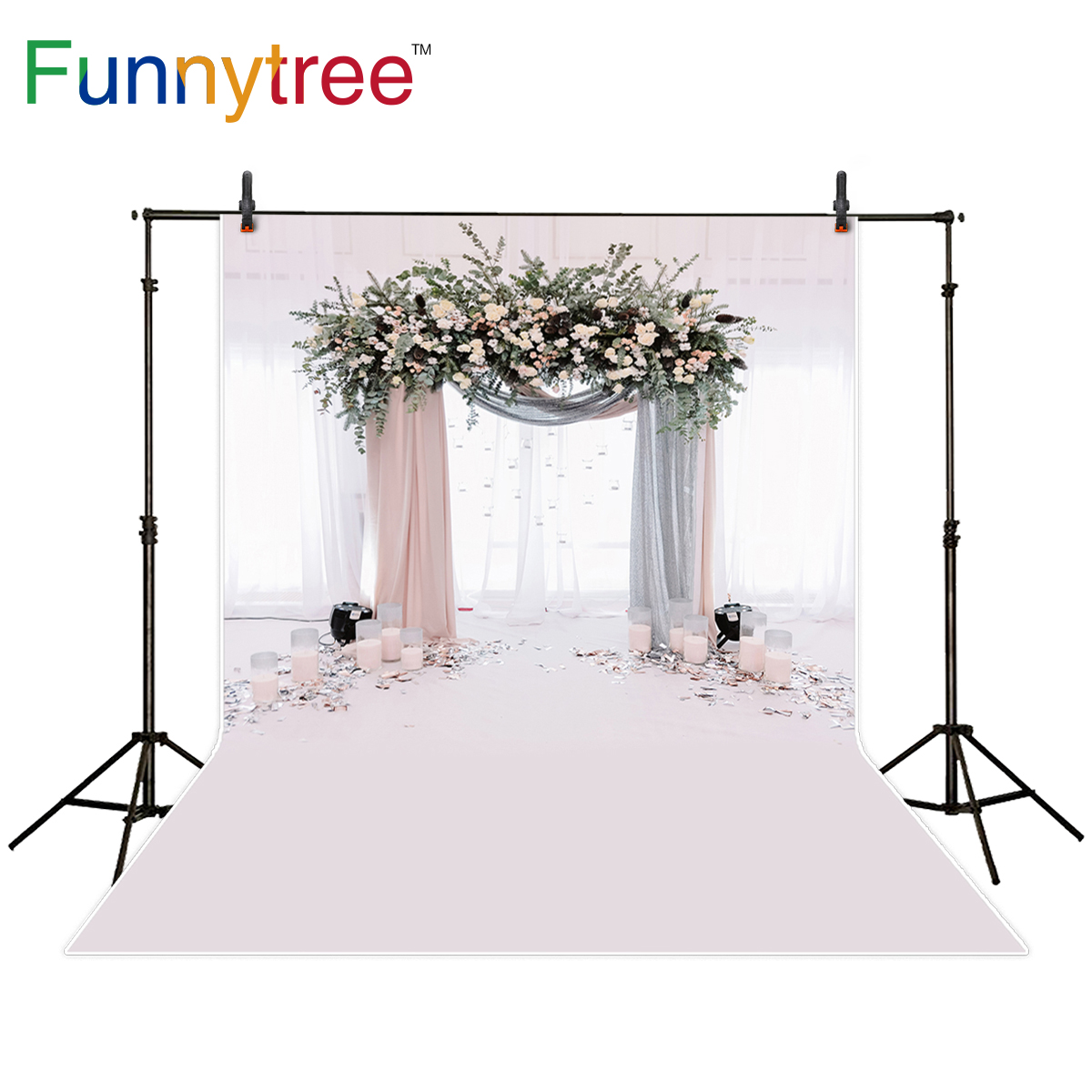 Funnytree photo background wedding flower door indoor sweet romantic backdrop photocall photography photo shoot photobooth allenjoy photography backdrop flower door wedding children painting colorful background photo studio photocall photo shoot