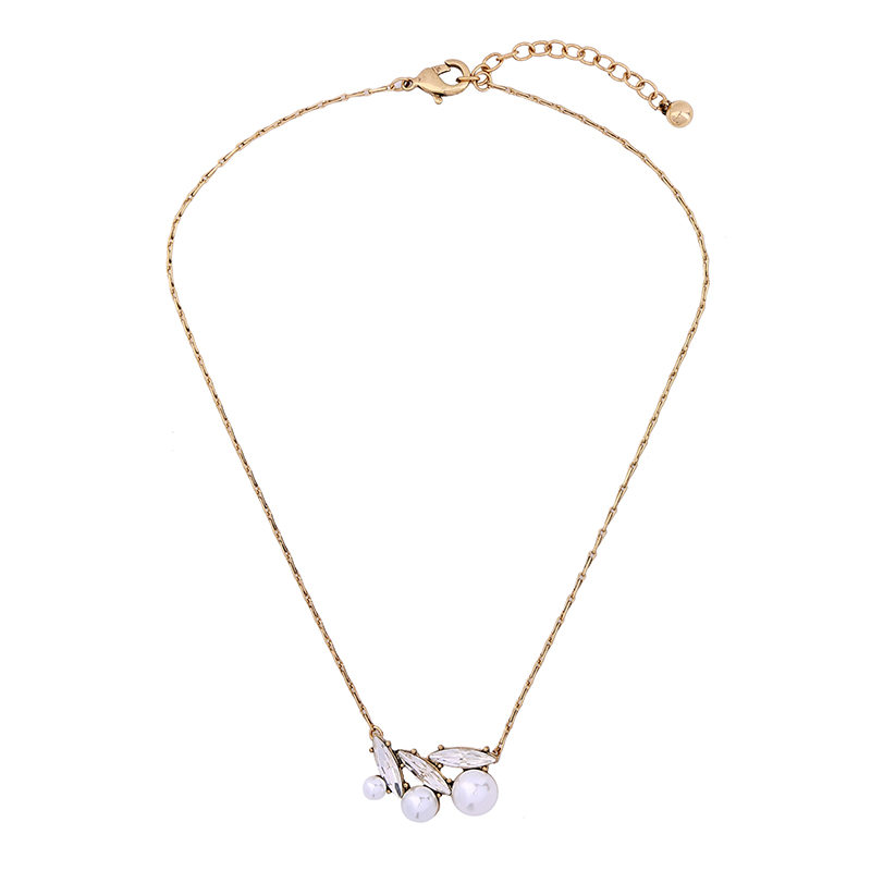 Simulate Pearls Glass Geometric Pendant Necklace 2017 Vintage Antique Gold Short Necklace Women Fashion Jewerly
