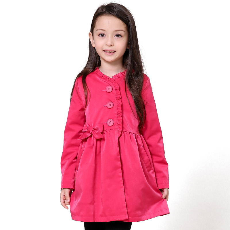 2016 Autumn Winter 4-12T Girls Long Sleeve Windbreak Girl Floral Candy Color Jacket Kids Children Trench Christmas Coats