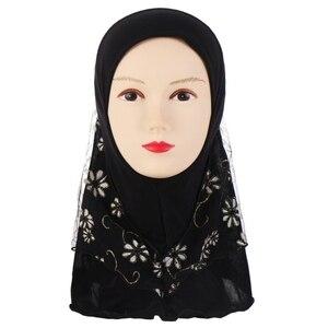 Image 3 - Kinder Kinder Moslemisches Kleine Mädchen Hijab Mit Spitze Blume Muster Islamischen Schal Schals Stretch 56cm 7 11 Jahre alt