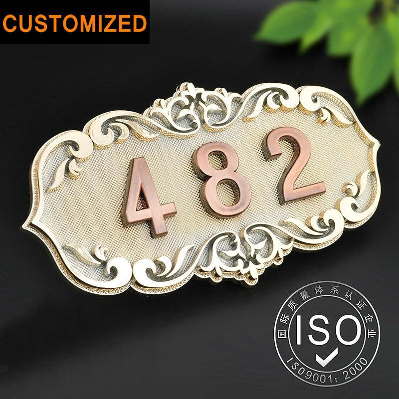 Número de casa habitación puerta estilo europeo clásico brone como el ABS por encargo 3 a 4 números personalizada Hotel placa de la puerta hotel