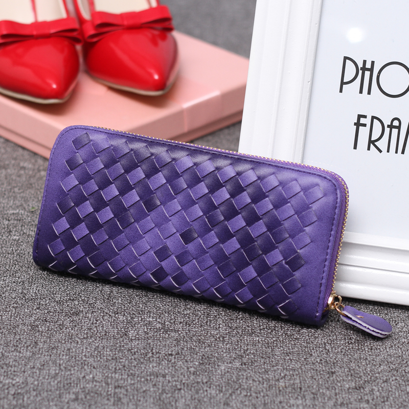 2018 High Quality Fashion PU Leather Knitting  Wallet Moneybag   With Coin Purse  Cards and  Mobile Holder Clutch  STJB Purple