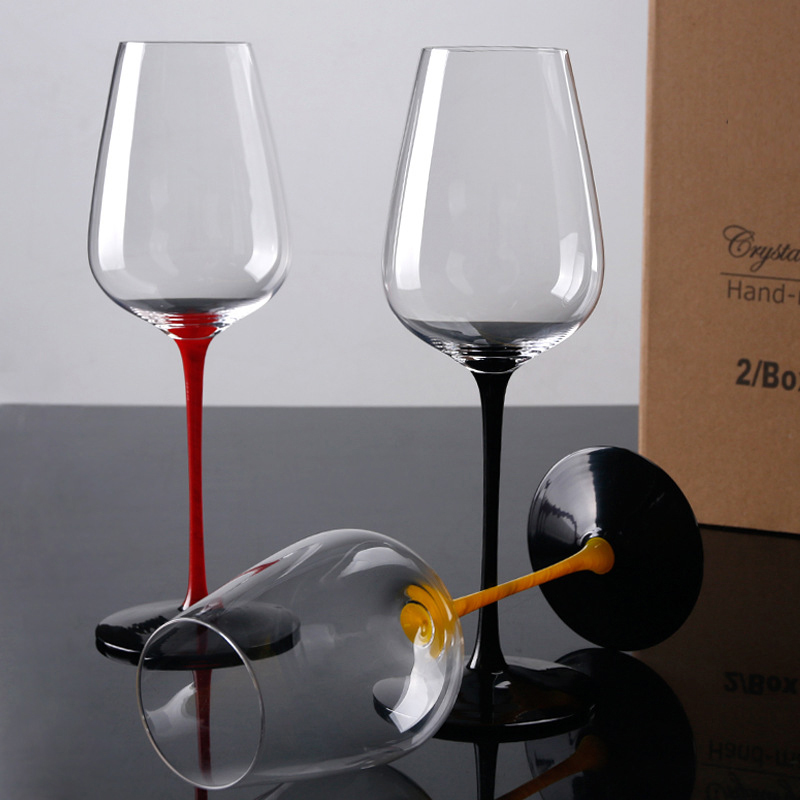 2Pcs/set  Lead-free crystal glass wine glass Black base black red wine cup Hand painted goblet home wedding drinkware Supply2Pcs/set  Lead-free crystal glass wine glass Black base black red wine cup Hand painted goblet home wedding drinkware Supply