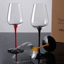 2Pcs/set  Lead-free crystal glass wine Black base black red cup Hand painted goblet home wedding drinkware Supply