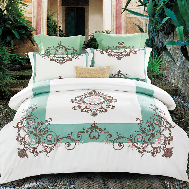 Long Staple Cotton Embroidery White Palace Style Bedding Set Duvet Cover Bed Sheet Pillowcases Bed Linen Bedclothes King Queen