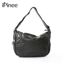 iPinee Large Capacity 2019 New Black Tote Bag Cowhide Patchwork Shoulder Bag Women Genuine Leather Handbag Female Travel Bags large sheepskin women bag genuine leather tote patchwork bags designer handbag black free shipping