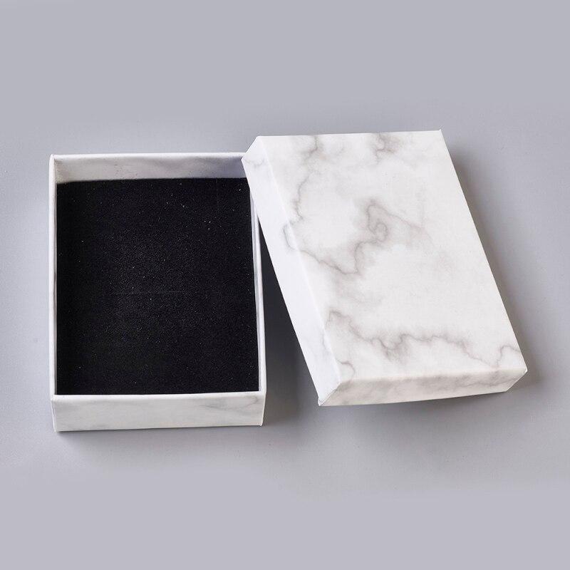 24 шт. бумажные картонные коробки для ювелирных изделий, коробка для хранения для ожерелья, браслеты, серьги, квадратные прямоугольные, мрамо...