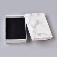 24 szt. Karton pudełka na biżuterię witryna torebka na naszyjniki bransoletki kolczyki kwadratowy prostokąt marmur biały