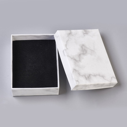 24pcs Paper Cardboard Jewelry Boxes Storage Display Carrying Box For Necklaces Bracelets Earrings Square Rectangle Marble White
