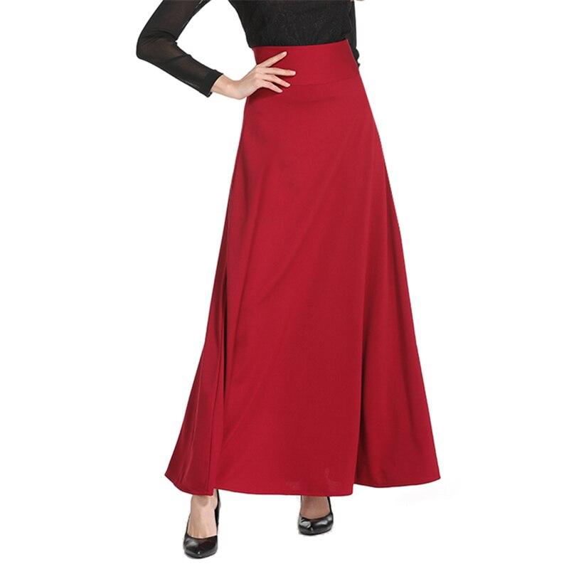 Neophil 2019 Winter Muslim Women Floor Length Long Skirts Plus Size 5XL Black High Waist Maxi Skater Skirts Jupe Longue MS1809
