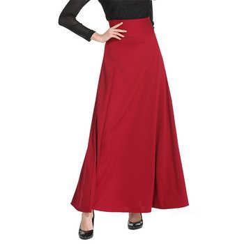 Neophil 2020 Winter Muslim Women Floor Length Long Skirts Plus Size 5XL Black High Waist Maxi Skater Skirts Jupe Longue MS1809