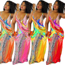 Summer New Womens Printed Sling Open Chest V-neck Back Floor-length Loose Dress Sexy Club Party 4color HY5027
