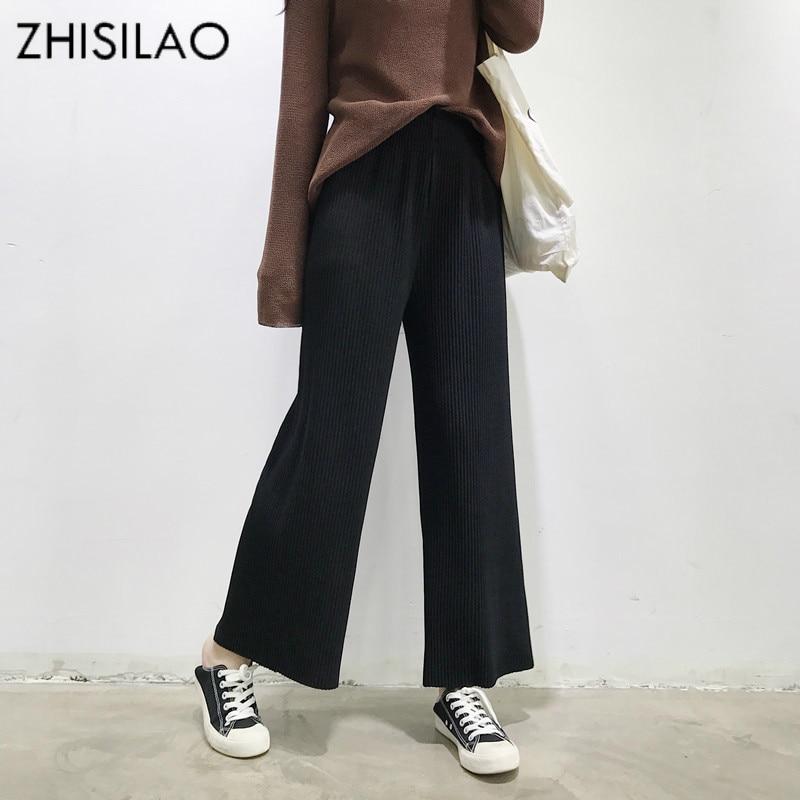 ZHISILAO 2018 Summer Trousers Women Pants Black Casual Pants Loose High Waist Pants Wide Leg Pants Oversize Casual Pantalon