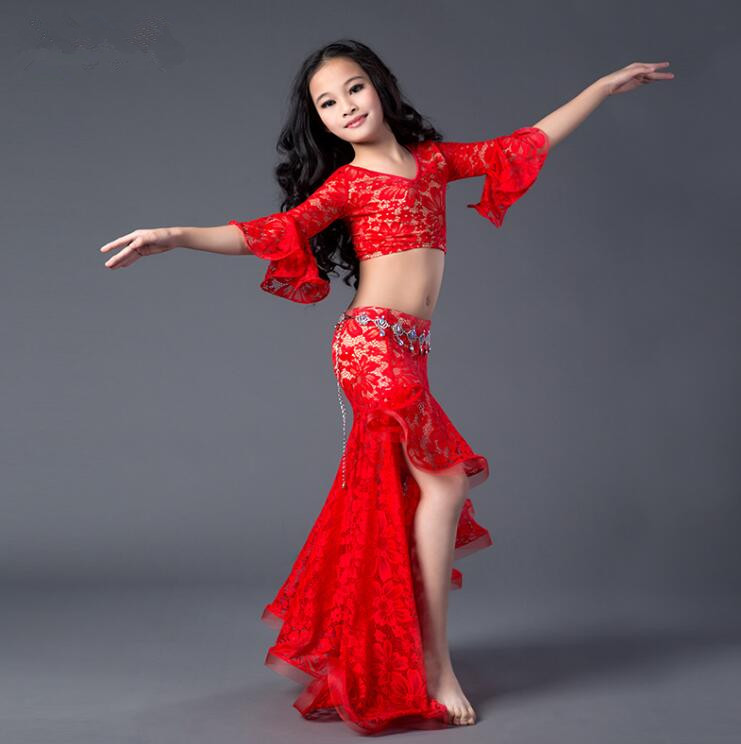 2018 New Arrival Children Bellydance Costume Girls Lace Dance Practice Dress Middle Sleeve Top Long Skirt