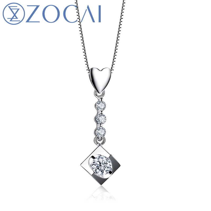 ZOCAI BRAND DREAM KISS 0.15 CT CERTIFIED DIAMOND PENDANT 18K WHITE GOLD WITH 925 SILVER STERLING CHAIN NACKLACE D00367ZOCAI BRAND DREAM KISS 0.15 CT CERTIFIED DIAMOND PENDANT 18K WHITE GOLD WITH 925 SILVER STERLING CHAIN NACKLACE D00367