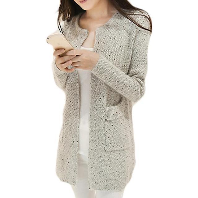 Invierno de Las Mujeres Casual Manga Larga de Punto Cardigans Otoño Crochet Señoras Suéteres Tricotado Cardigan de Moda de Calidad Superior
