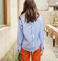 Women Striped Shirt 2017 Autumn New Fashion Light Blue Back Strap Long Sleeve Women S Shirt