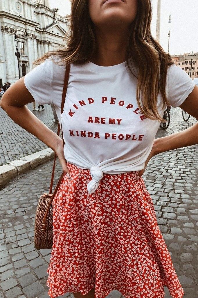 Kuakuayu HJN Art Menschen Sind Meine Irgendwie Menschen Inspirational Zitate T-Shirt Frauen Tumblr Mode Nette Grafik T Straße Stil