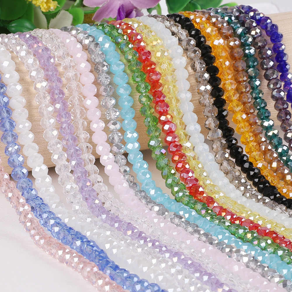 2mm 3mm 4mm 6mm 8mm Rondelle Austria Faceted Crystal Glass Beads Round Loose Spacer Beads for Jewelry Making