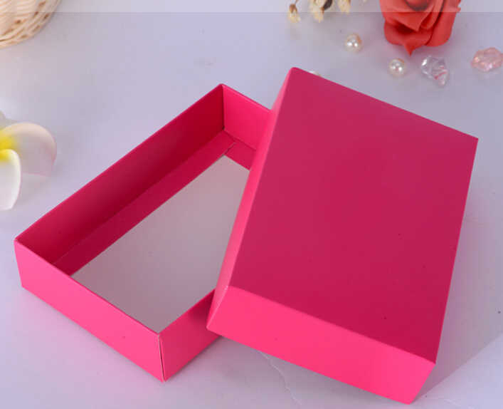 10pcs pink/red gift packaging box blank carton paper gift paper box with lid Gift carton cardboard box for socks/underwear/silk