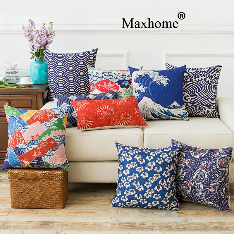 japanese ukiyo cloth linen printed pillowcase classic cushions home decor decorative pillow sofa throw pillows 45 - Decorative Pillows For Sofa