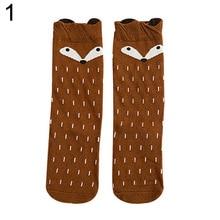 Hot Warm Fashion  Children Girls Fox Pattern Socks Soft Cotton Knee High Hosiery  7GLM