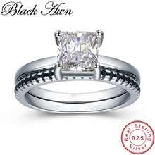 BLACK AWN 2 5g 925 Sterling Silver Jewelry Row Black Stone Wedding Ring Sets for