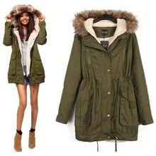 2015 зима военная куртка пальто толстые пальто женские длинные участки army green с капюшоном меховой воротник пальто молния
