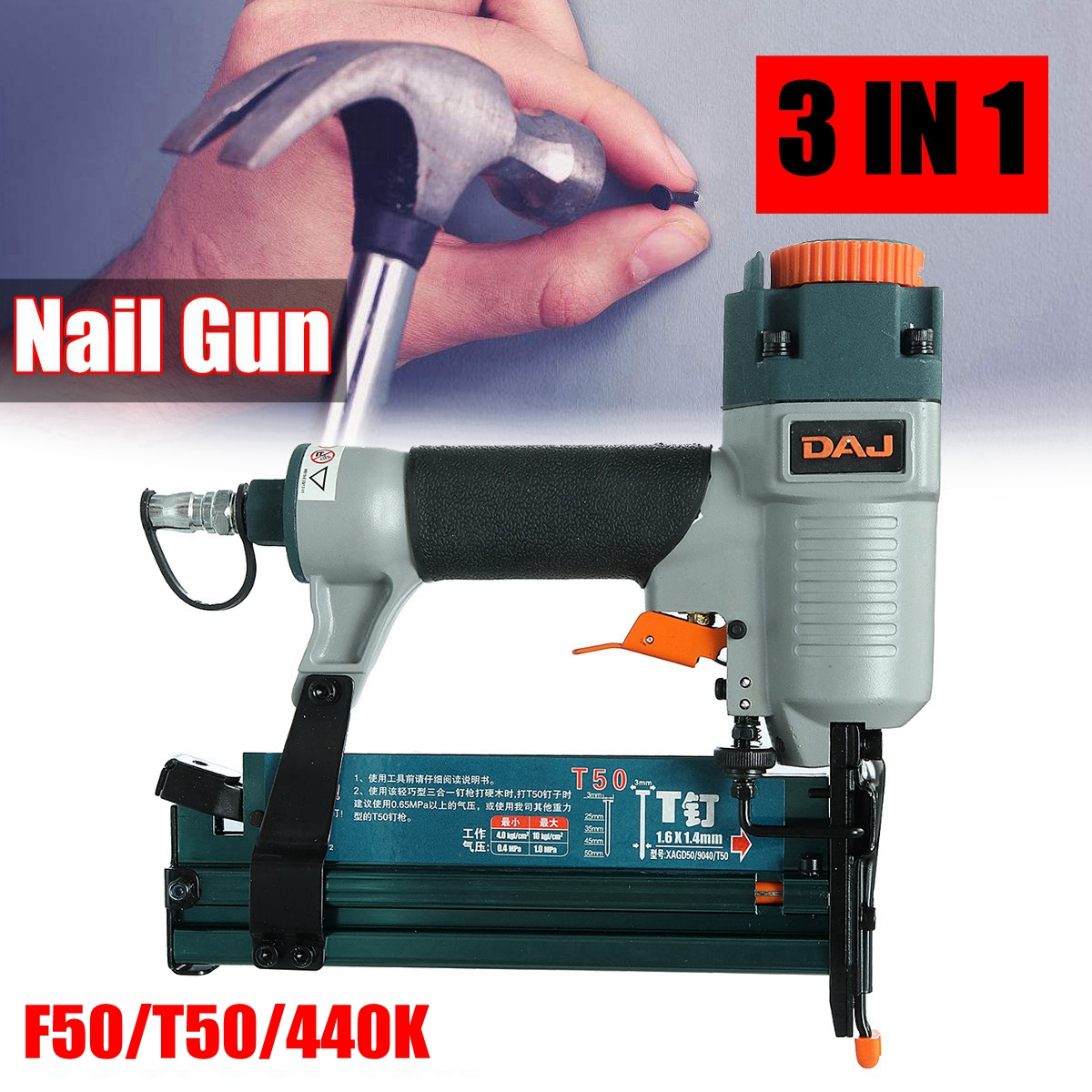 Portable 3 In1 Air Brad Nail G un Stapler Finish Nailer Pneumatic Finishing Nail Tool For T50 F50 440K 18ga pneumatic brad nailer gun f50 not include the custom tax