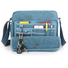 mix application multi pockets multifunctional canvas messenger book magazine pad solide card money keys coins pen storage bags