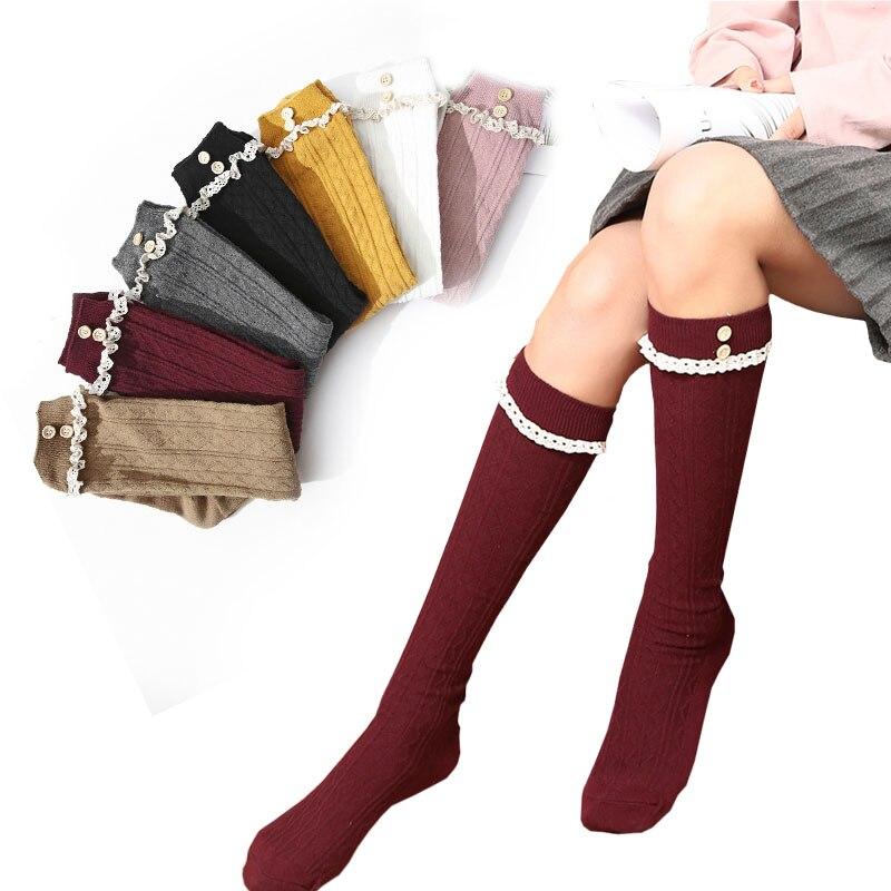 4a2397c89af Sexy mujeres calcetines botón encaje rodilla calcetines japonés dulces  tejer pierna medias compresión muslo alta calcetines Corea