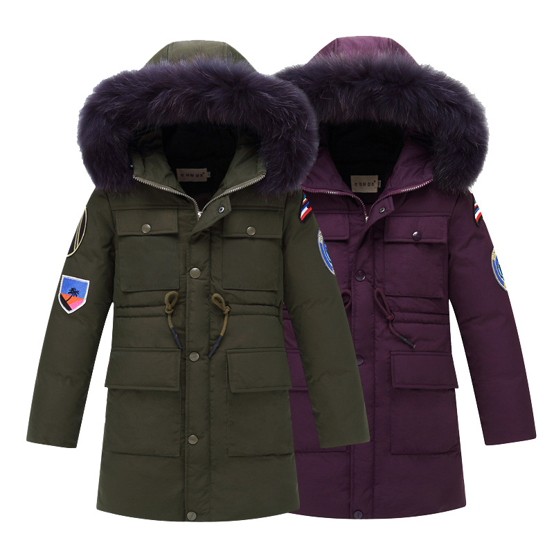 High Quality Boys Thick Down Jacket 2018 Winter New Children Long Sections Warm Coat Clothing Boys 6-14y Hooded Down Outerwear new 2017 russia winter boys clothing warm jacket for kids thick coats high quality overalls for boy down