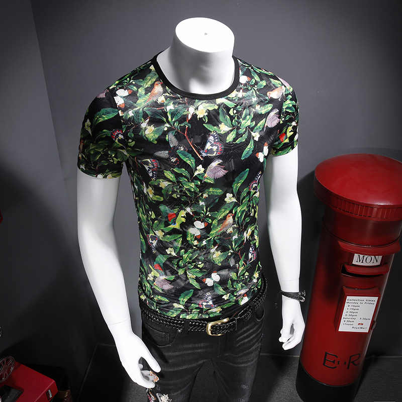 夏の 2019 快適なテンセルアイコン中空アウト通気性印刷半袖メンズ Tシャツ C8109-P45