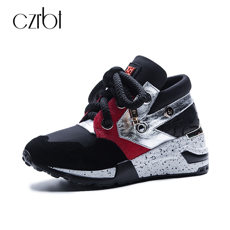 CZRBT Genuine Leather Casual Shoes Women Platform Shoes Fashion Mixed Colors Lace Up Flat Shoes Woman Spring Recreational shoes
