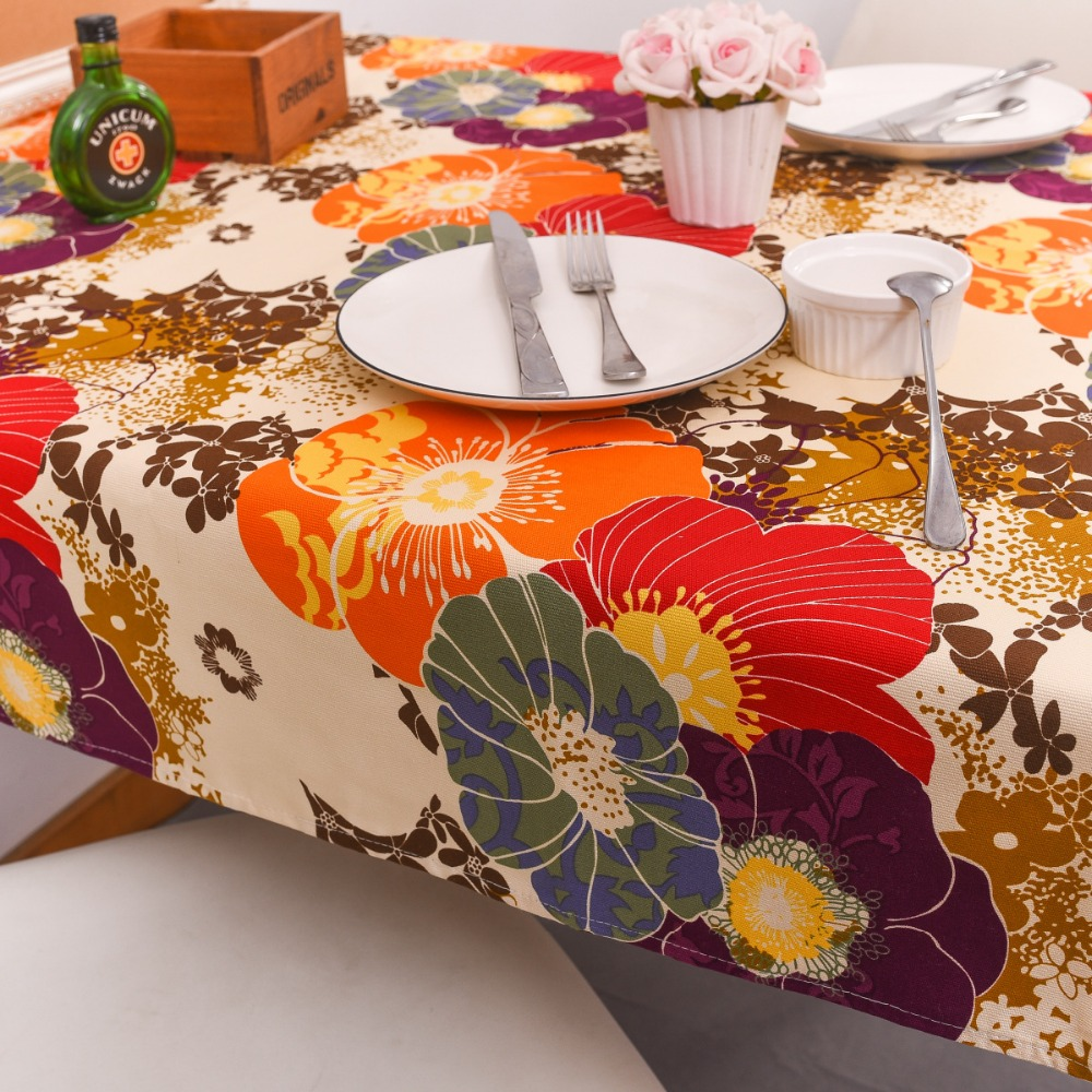 Cotton thick dining table cloth Europe and the United States retro flower tablecloth hotel home decoration