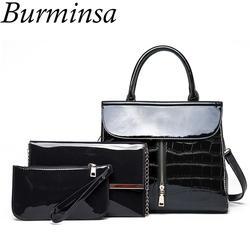 Burminsa 3 комплекта лакированные кожаные сумки для мамы Для женщин роскошный камень Сумки женский цепь плечо Курьерские сумки небольшие