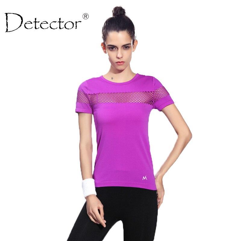 Detector Women Quick Dry Short Sleeve Running T-shirt Fitness Gym Tops Mesh Patchwork Clothing Sport Yoga T-shirt Camisetas