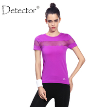 Detector Women Quick Dry Short Sleeve Running T-shirt Fitness Gym Tops Mesh Patchwork Clothing Sport Yoga T-shirt Camisetas